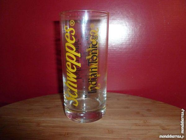 T33: 6 verres SCHWEPPES Indian Tonic logo jaune 7 Vauréal (95)