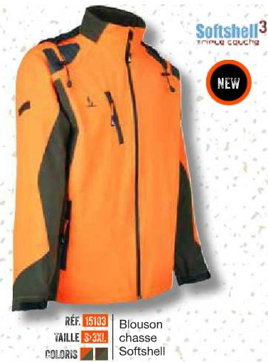 veste chasse percussion softshell fluo Sports