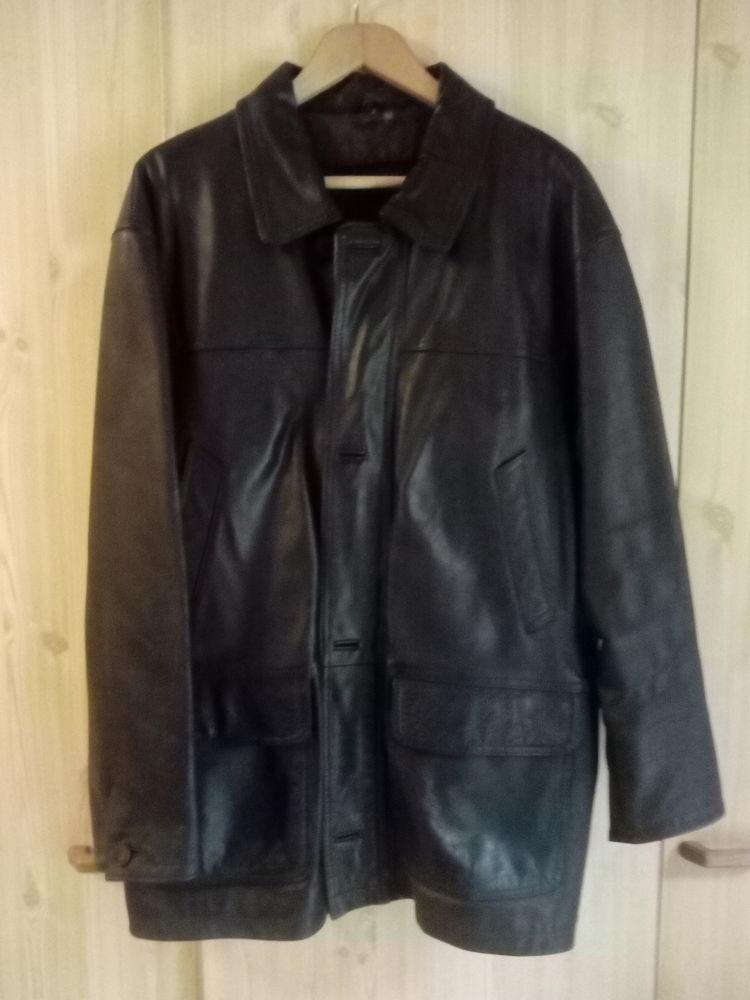 Veste cuir noir T58 65 Assas (34)