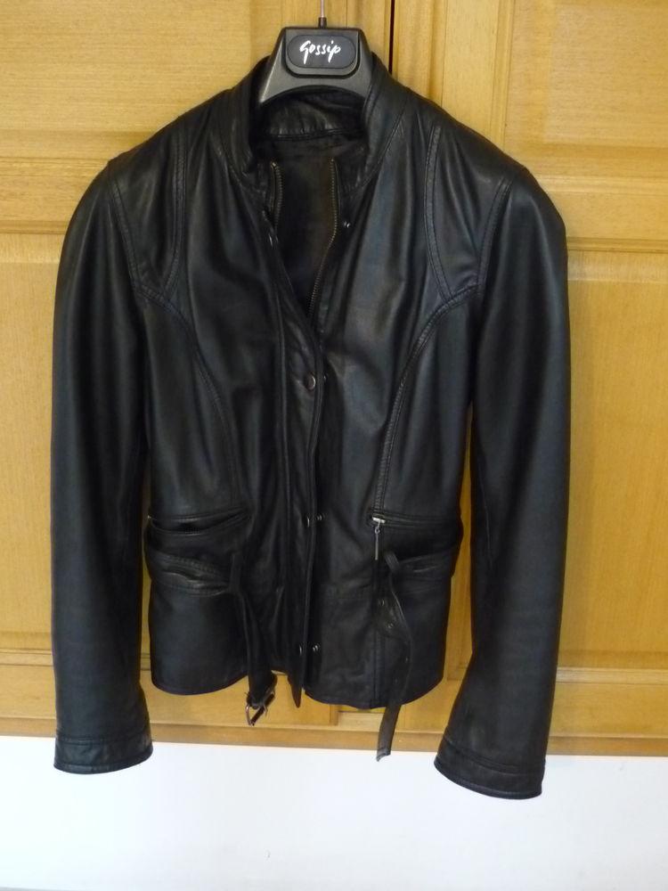 Veste en cuir noir femme Caroll taille M 65 Éguilles (13)