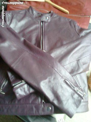 Veste en Cuir Prune Avant Première Vêtements