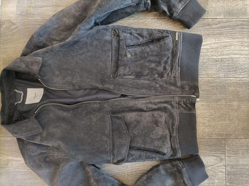 veste en cuir véritable gris Mango 55e 55 Poitiers (86)