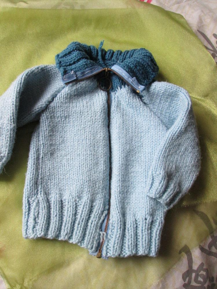 Veste enfant en laine tricotée main  13 Goussainville (95)