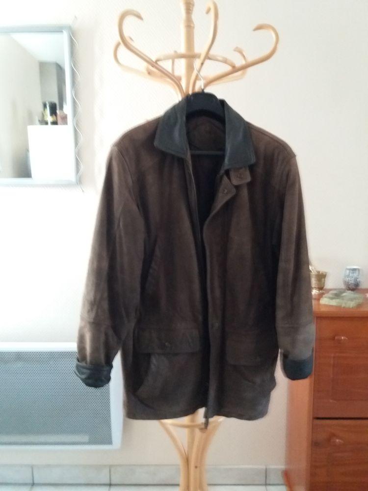 veste 3/4 hiver homme marron dessus cuir vachette nubuck Vêtements