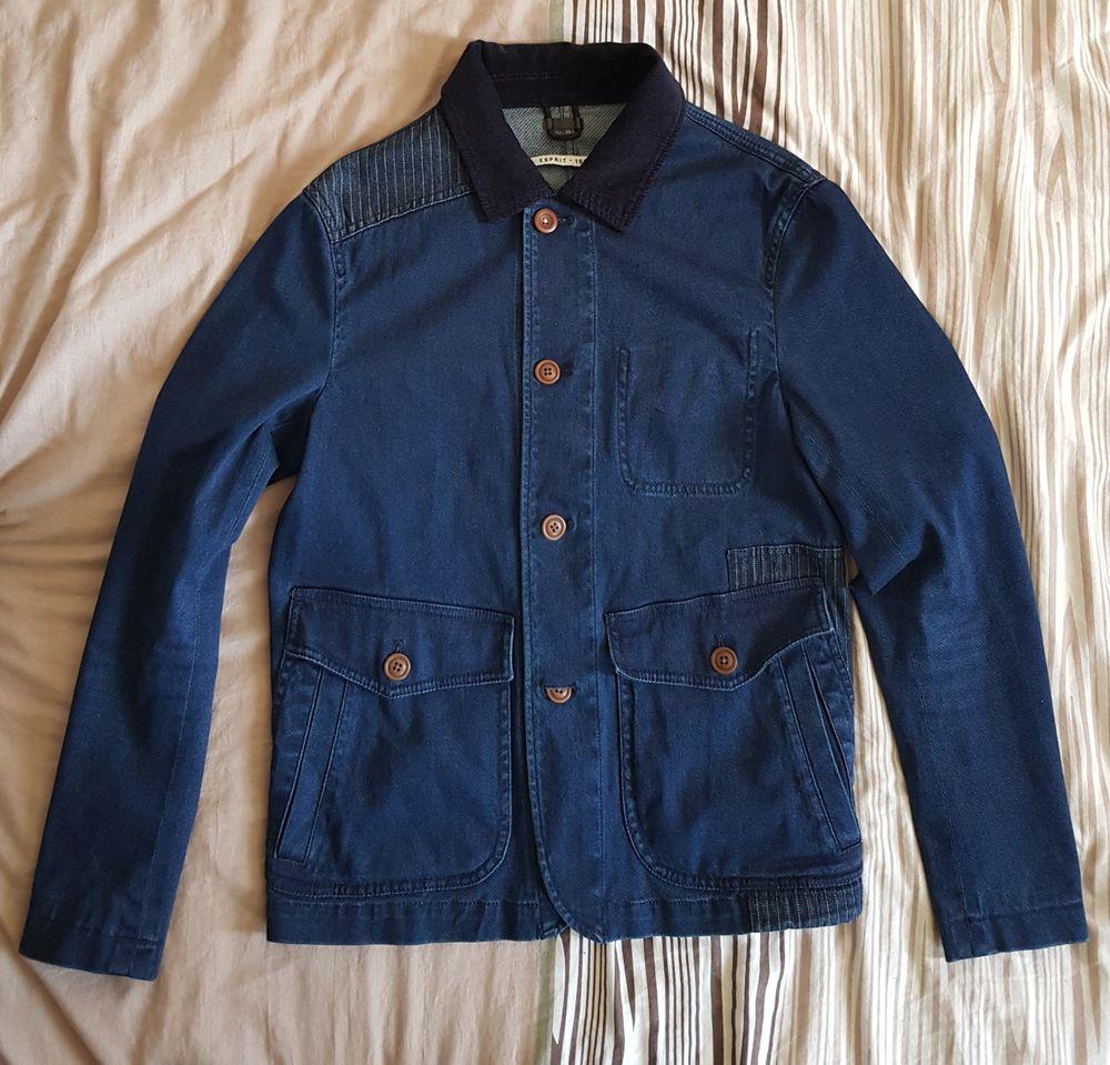 Veste mi-saison en jean Esprit Bleue Taille S homme avec col en velours toute neuve et d'origine. 30 Saint-Cyr-l'École (78)