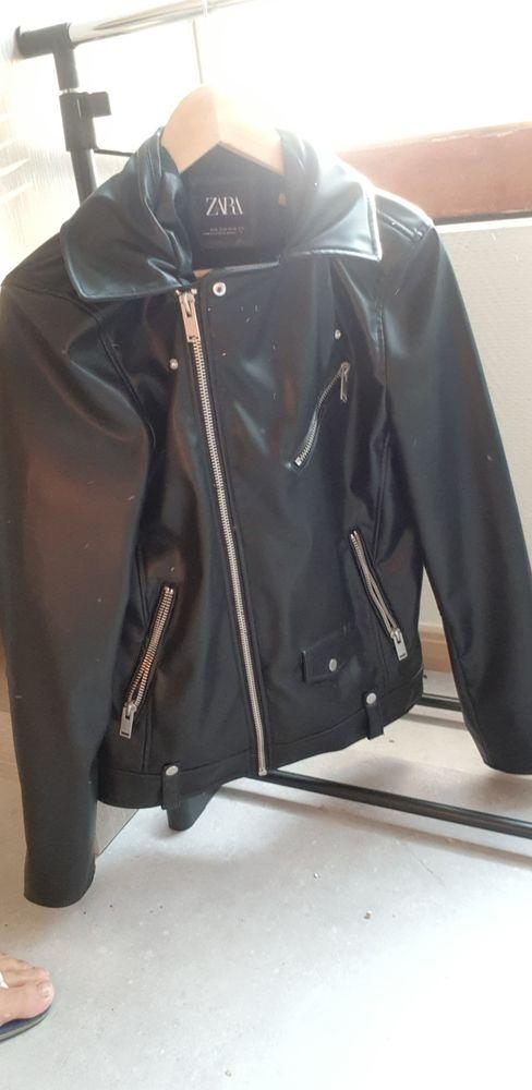 veste simili cuir zara noire taille M etat neuf porté 1 fois 50 Podensac (33)