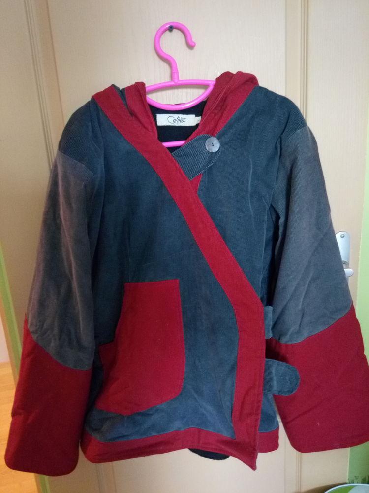 Veste velours rouge et grise  10 Lanneray (28)