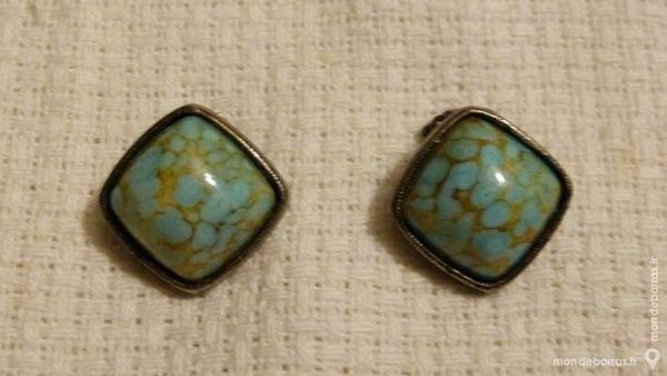 VINTAGE boucles d'oreille bleu porcelaine :1950 4 Écuisses (71)