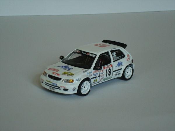 """Voiture miniature Citroën Saxo kit car -Alsace 1998 """" Loeb """""""