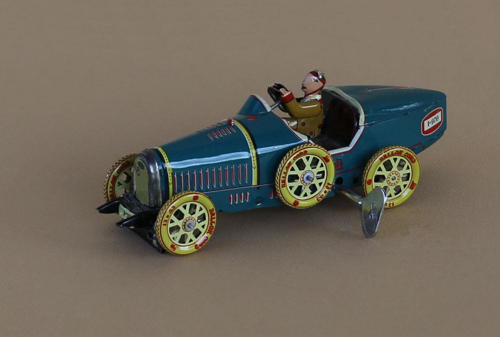 Voiture miniature repro Bugatti à ressort en tole Ballon Cor 15 Sanguinet (40)