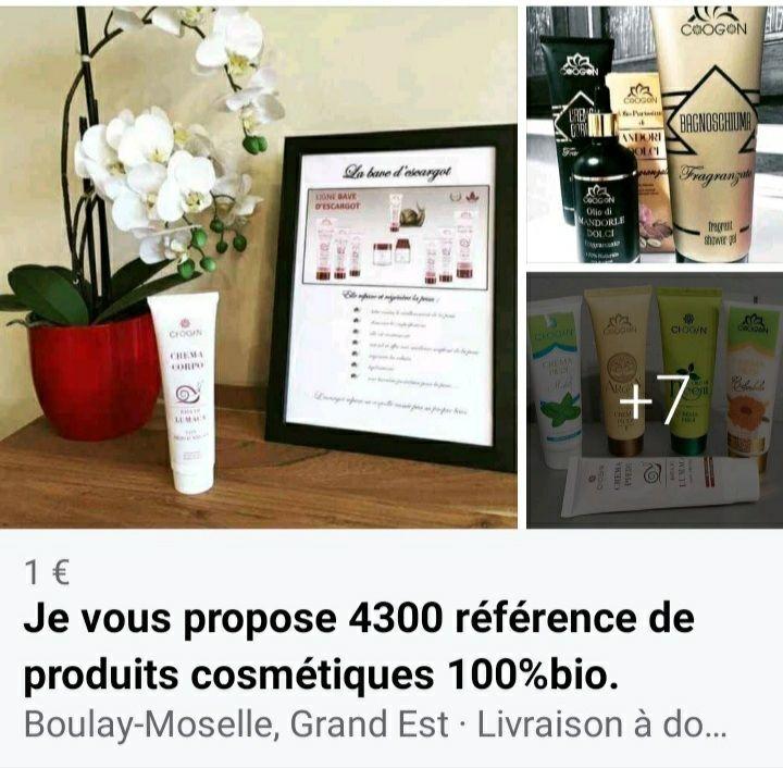 je vous propose plus de 4300 références de produits cosmétiques 100%bio. 1 Metz (57)