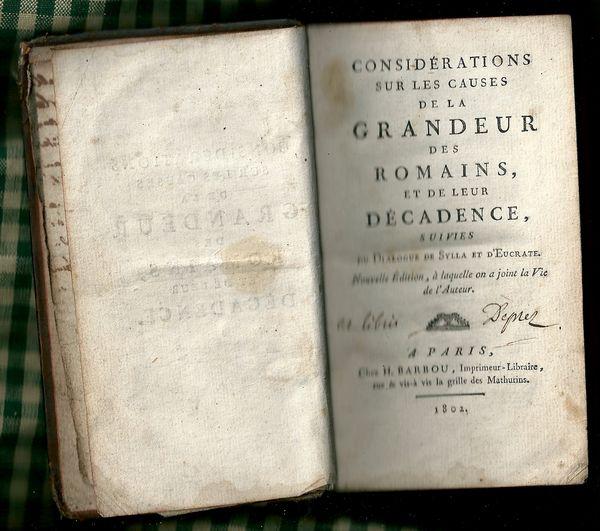 les causes de la grandeur et decadence des Romains  1802 50 Divion (62)