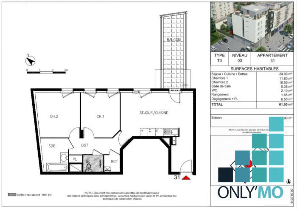 Vente Appartement DERNIER T3 61 M2 LYON 8 PROCHE T6 AVEC BALCON, GARAGE ET CAVE Lyon 8