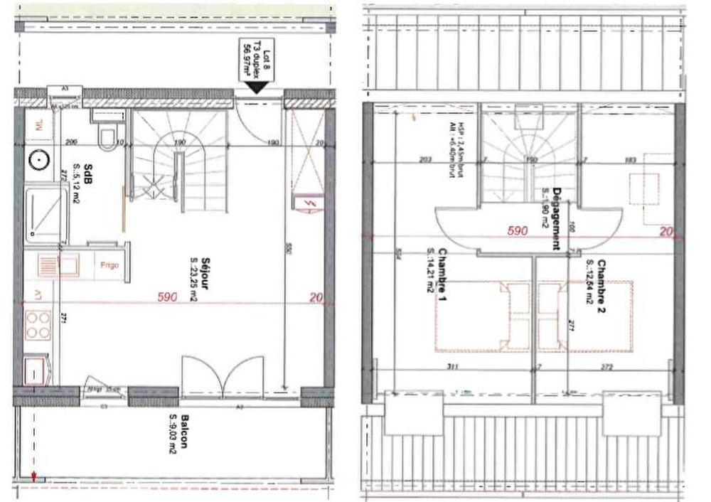Vente Appartement Appartement Erstein 3 pièces de  56.97 m2  à Erstein
