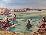 Tableau Paysage Baie de Goulphar Belle-Ile-en-Mer Signé 1961 55 Locmaria (56)