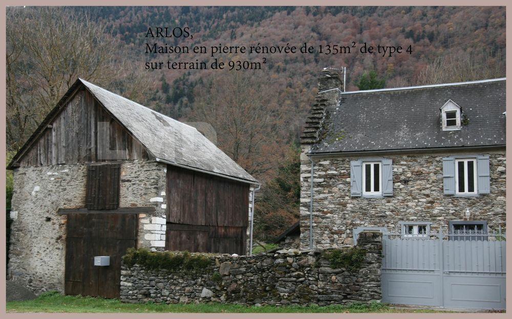 Vente Maison ARLOS, maison T4 en pierre rénovée de 135m² sur 930m² de terrain avec grange.  à Arlos