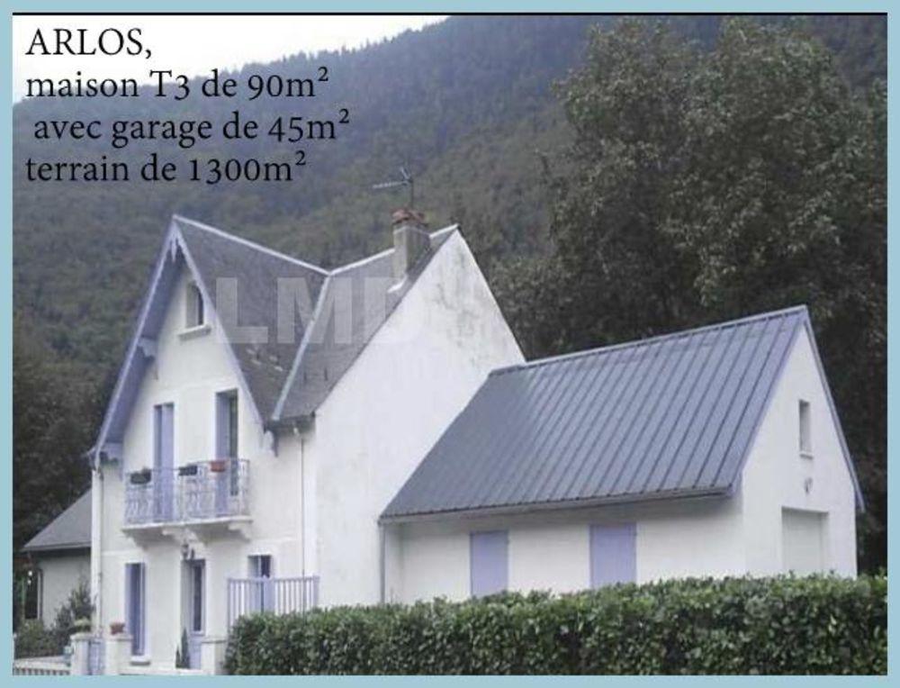 Vente Maison ARLOS, maison typique des Pyrénées de type T3 de 90m² avec garage de 45m² sur terrain de 1300m².  à Arlos
