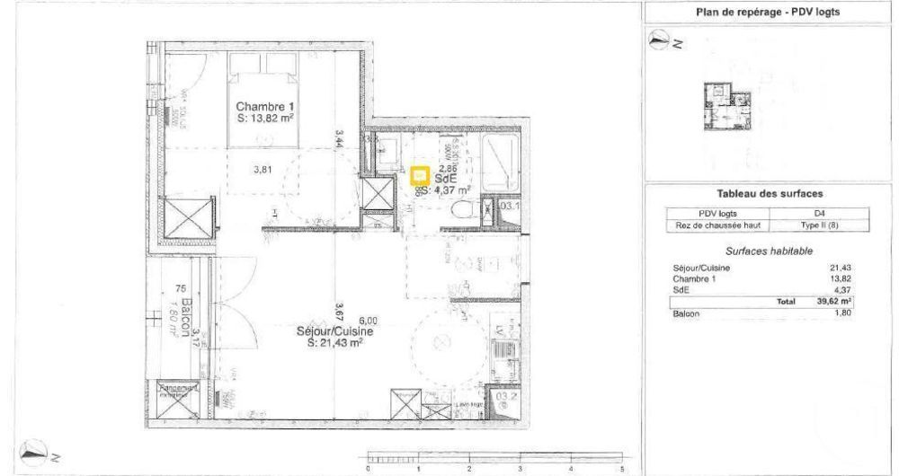 location Appartement - 2 pièce(s) - 39 m² Tours (37000)