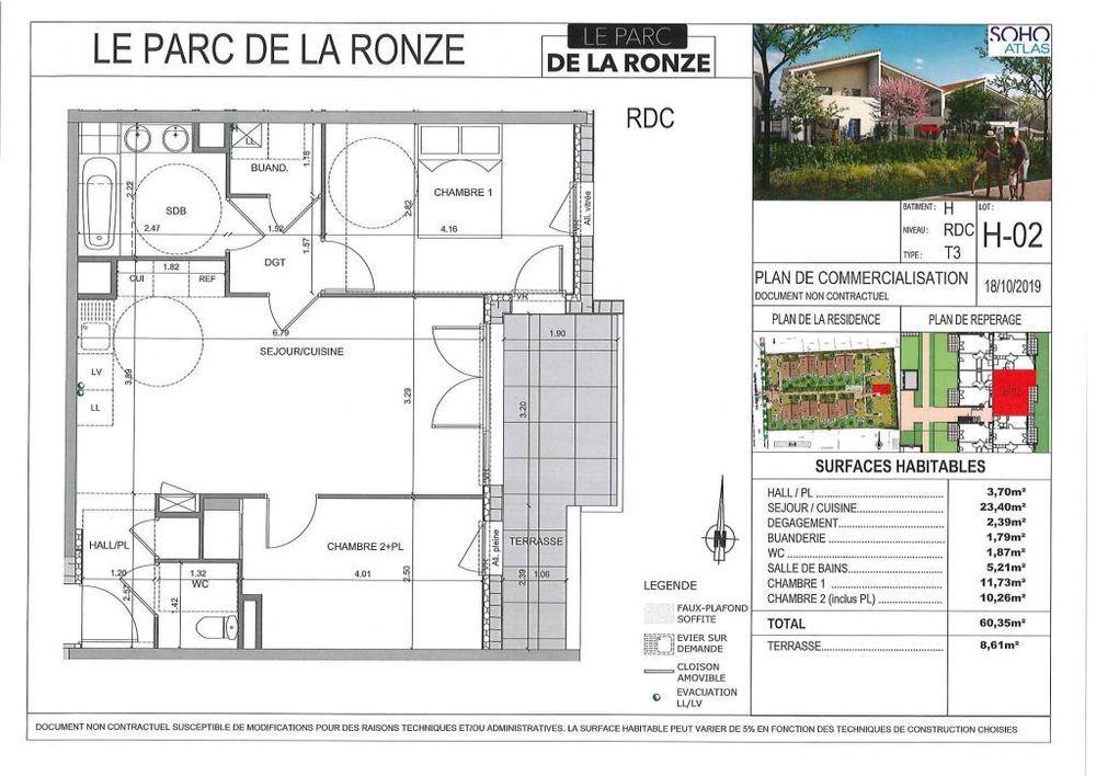 Vente Appartement Appartement Neuf Lot H02-T3 60.35 m2 - Terrasse  à Villefranche sur saone