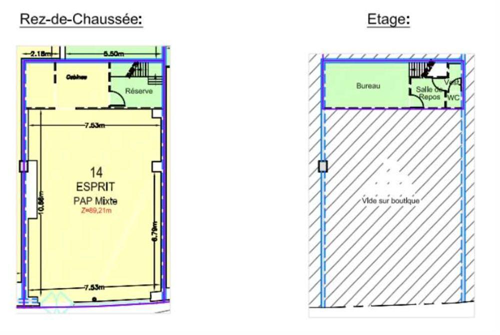 Locaux commerciaux - A LOUER - 120 m² non divisibles