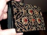 Vintage * Portemonnée brodée fil d'Or et perles 35 Antibes (06)