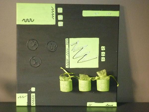 Tableau Contemporain Noir, Vert Anis+panier (FAIT MAIN) Décoration