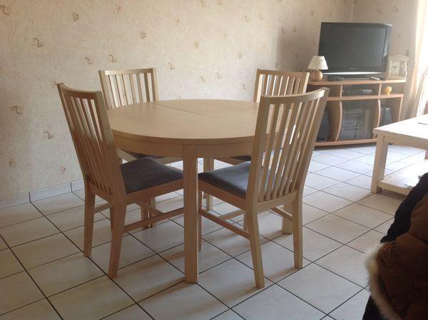 table ronde ikea bjursta avec rallonge 4 chaises meubles - Table Ikea Ronde