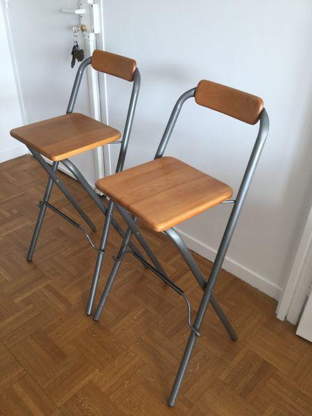 2 chaises de bar pliables tabouret ikea meubles - Tabouret De Bar Ikea