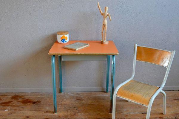 Bureau Et Chaise Enfant Pupitre Vintage Reacutetro Eacutecole Eacutecolier