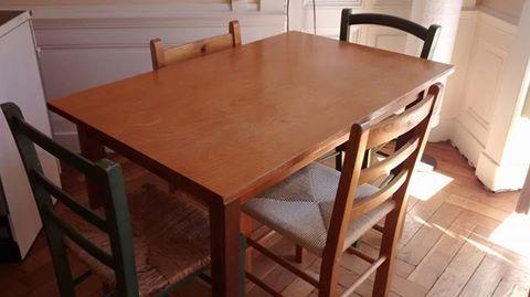 Table En Bois 4 Chaises Paille Meubles