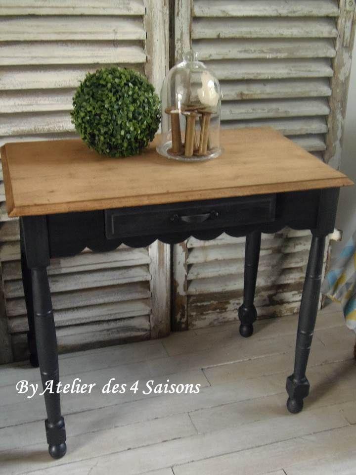 Merveilleux Table, Bureau Patinu0026eacute; Gris Ardoise Plateau Bois Meubles