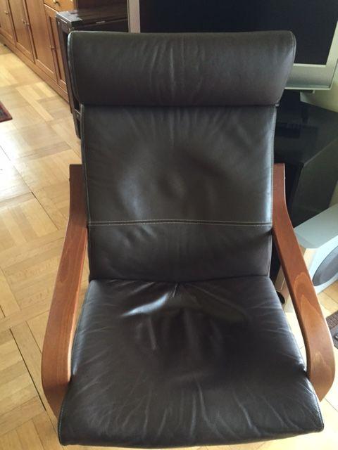 deux fauteuil poang ikea coussins en cuir marron meubles - Fauteuil Ikea Cuir