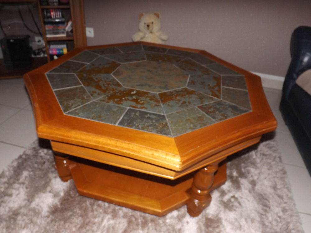Table Basse Hexagonal En Hetre Massif