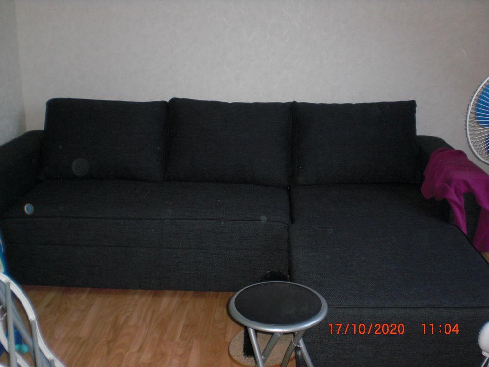 canapé d'angle tissu noir  0 Pleurtuit (35)