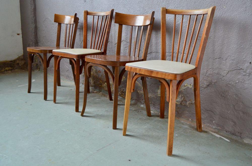 Set de 4 chaises Baumann vintage scandinave anciennes 340 Wintzenheim (68)
