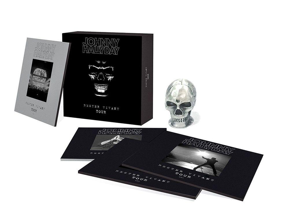 Coffret collector Johnny Hallyday Rester vivant + réplique CD et vinyles